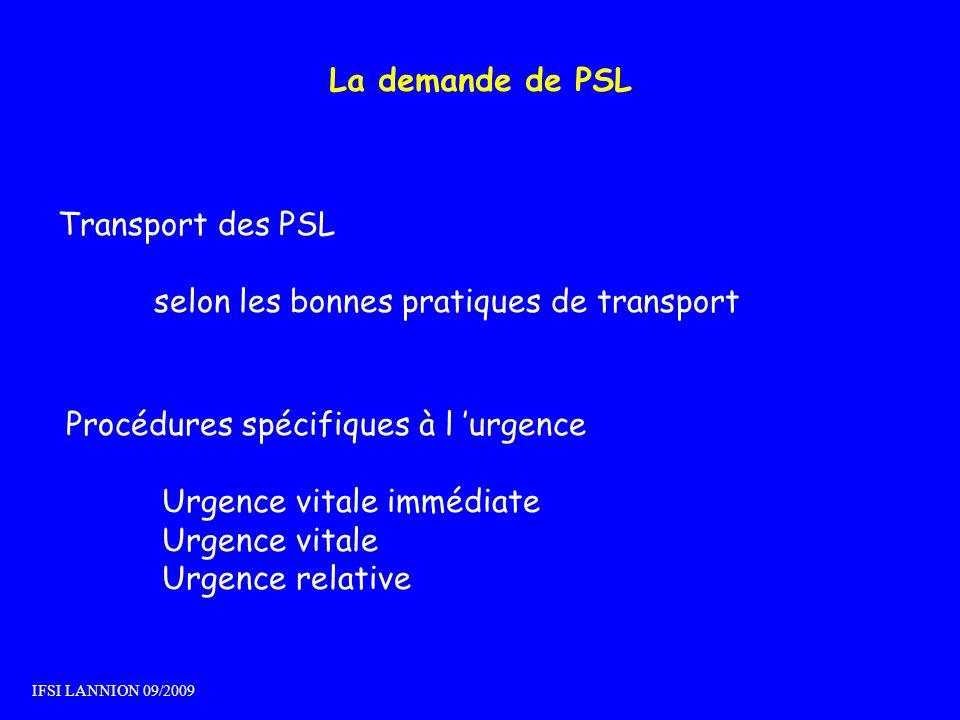 La demande de PSL Transport des PSL selon les bonnes pratiques de transport Procédures spécifiques à l urgence Urgence vitale immédiate Urgence vitale