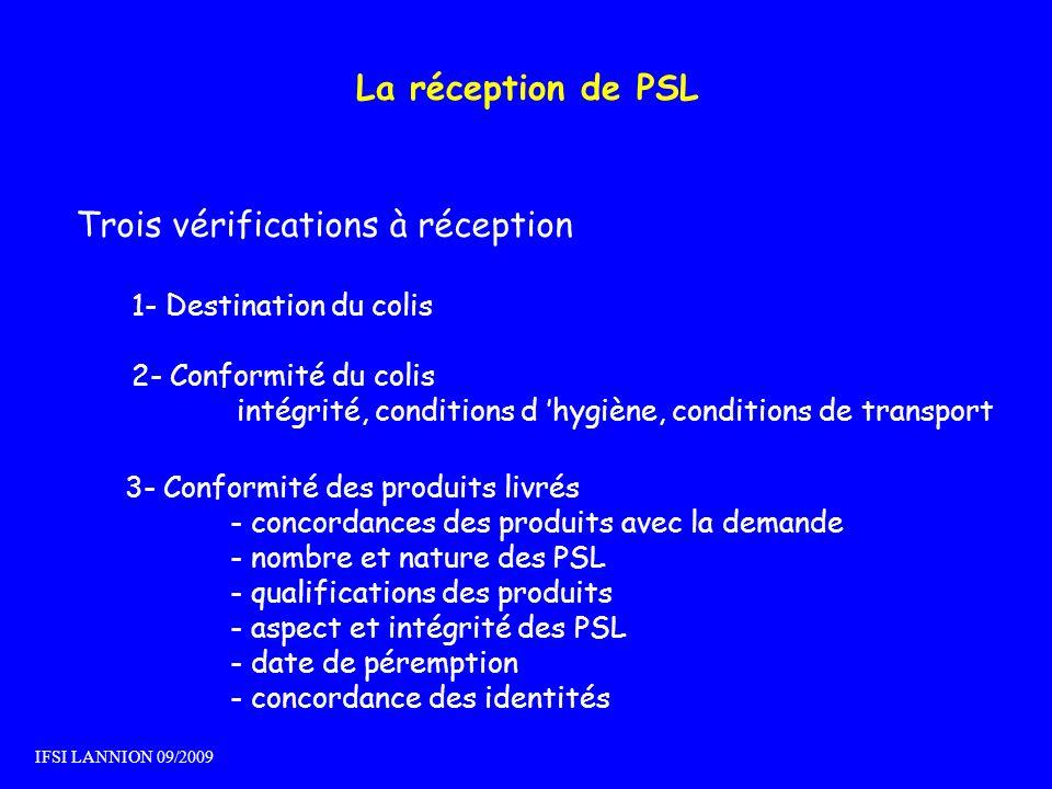 La réception de PSL Trois vérifications à réception 1- Destination du colis 2- Conformité du colis intégrité, conditions d hygiène, conditions de tran