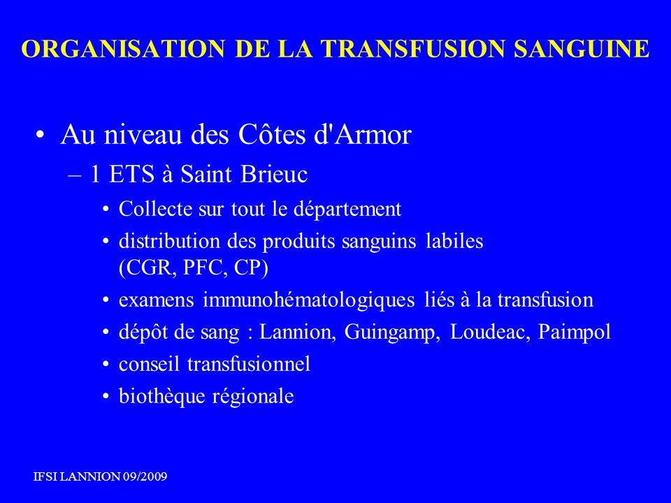 Au niveau des Côtes d'Armor –1 ETS à Saint Brieuc Collecte sur tout le département distribution des produits sanguins labiles (CGR, PFC, CP) examens i