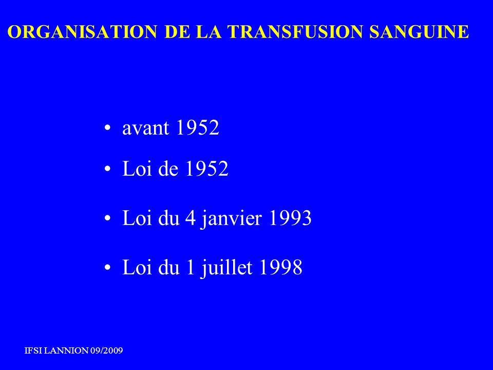 ORGANISATION DE LA TRANSFUSION SANGUINE avant 1952 Loi de 1952 Loi du 4 janvier 1993 Loi du 1 juillet 1998 IFSI LANNION 09/2009