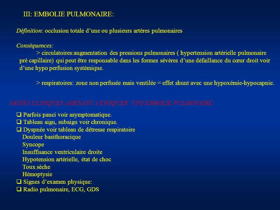 III: EMBOLIE PULMONAIRE: Définition: occlusion totale dune ou plusieurs artères pulmonaires Conséquences: > circulatoires:augmentation des pressions p