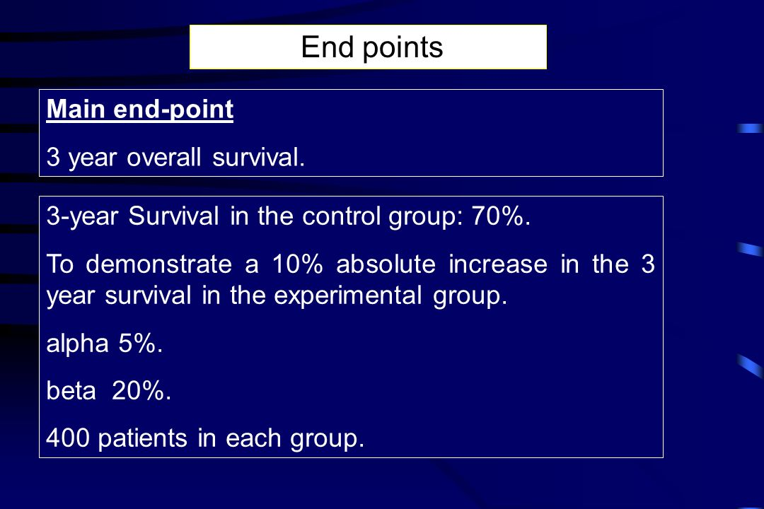 Main end-point 3 year overall survival. End points 3-year Survival in the control group: 70%. To demonstrate a 10% absolute increase in the 3 year sur