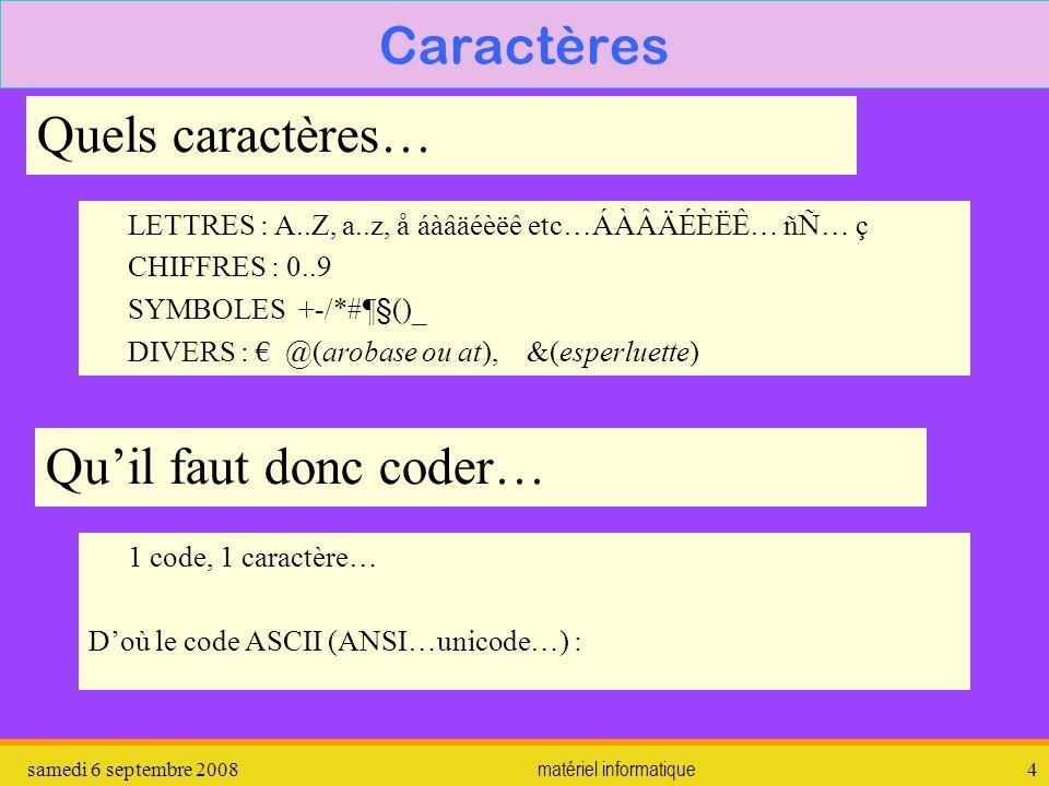 samedi 6 septembre 2008matériel informatique4 Caractères Quels caractères… Quil faut donc coder… LETTRES : A..Z, a..z, å áàâäéèëê etc…ÁÀÂÄÉÈËÊ… ñÑ… ç CHIFFRES : 0..9 SYMBOLES +-/*#¶§()_ DIVERS : @(arobase ou at), &(esperluette) 1 code, 1 caractère… Doù le code ASCII (ANSI…unicode…) :