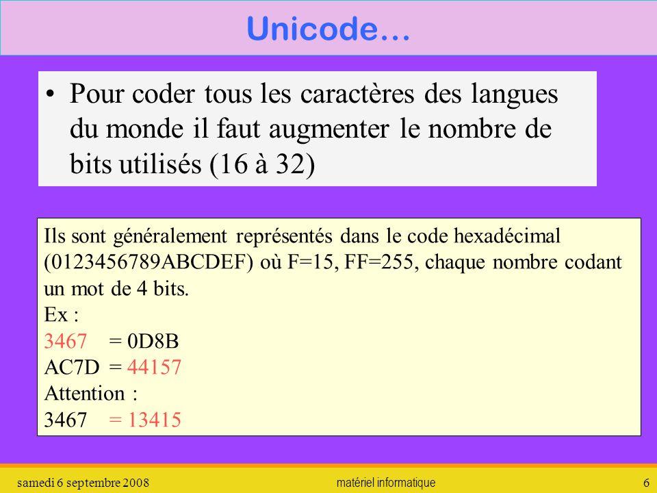samedi 6 septembre 2008matériel informatique7 Unicode exemples