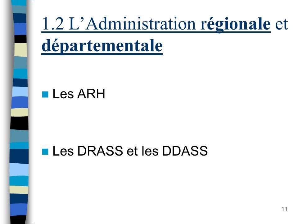 11 1.2 LAdministration régionale et départementale Les ARH Les DRASS et les DDASS