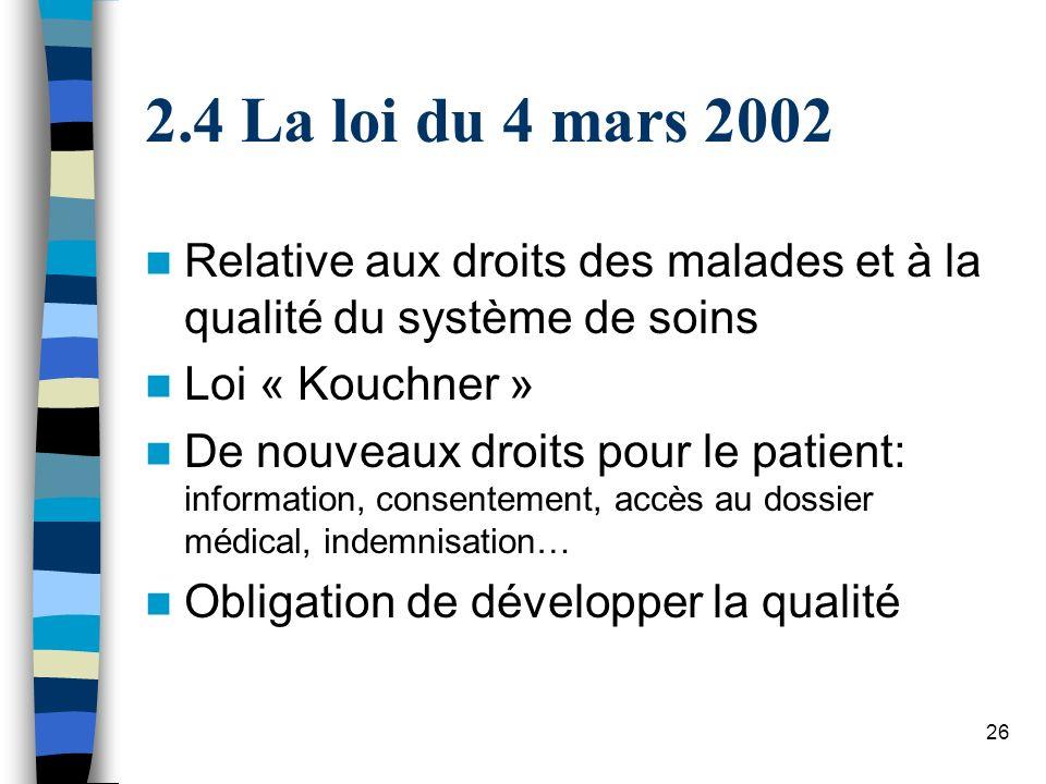 26 2.4 La loi du 4 mars 2002 Relative aux droits des malades et à la qualité du système de soins Loi « Kouchner » De nouveaux droits pour le patient: