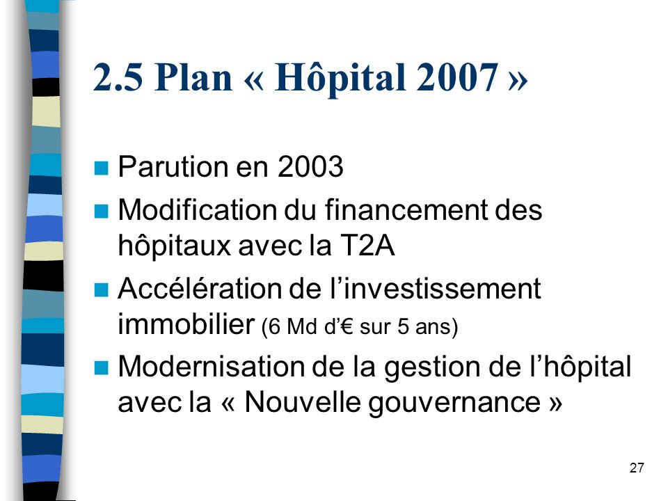 27 2.5 Plan « Hôpital 2007 » Parution en 2003 Modification du financement des hôpitaux avec la T2A Accélération de linvestissement immobilier (6 Md d