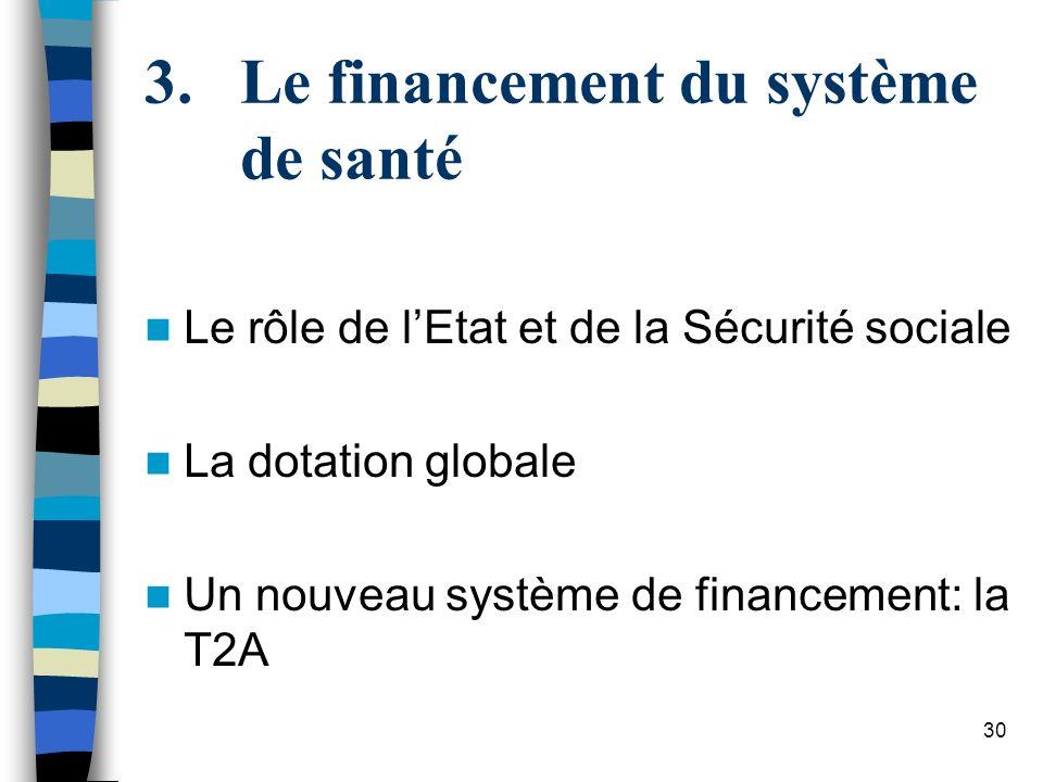 30 3.Le financement du système de santé Le rôle de lEtat et de la Sécurité sociale La dotation globale Un nouveau système de financement: la T2A