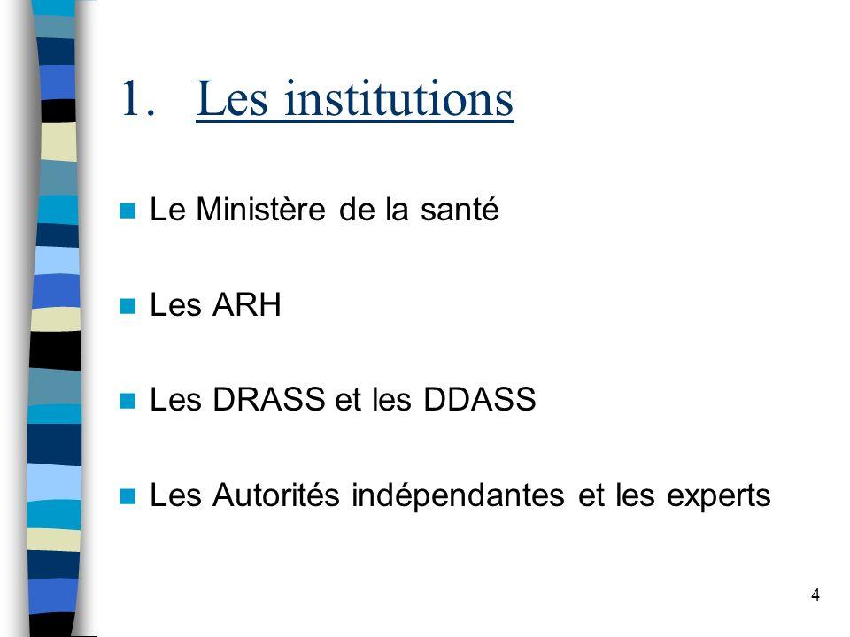 4 1.Les institutions Le Ministère de la santé Les ARH Les DRASS et les DDASS Les Autorités indépendantes et les experts