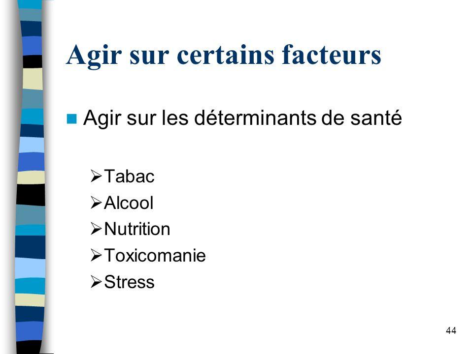 44 Agir sur certains facteurs Agir sur les déterminants de santé Tabac Alcool Nutrition Toxicomanie Stress