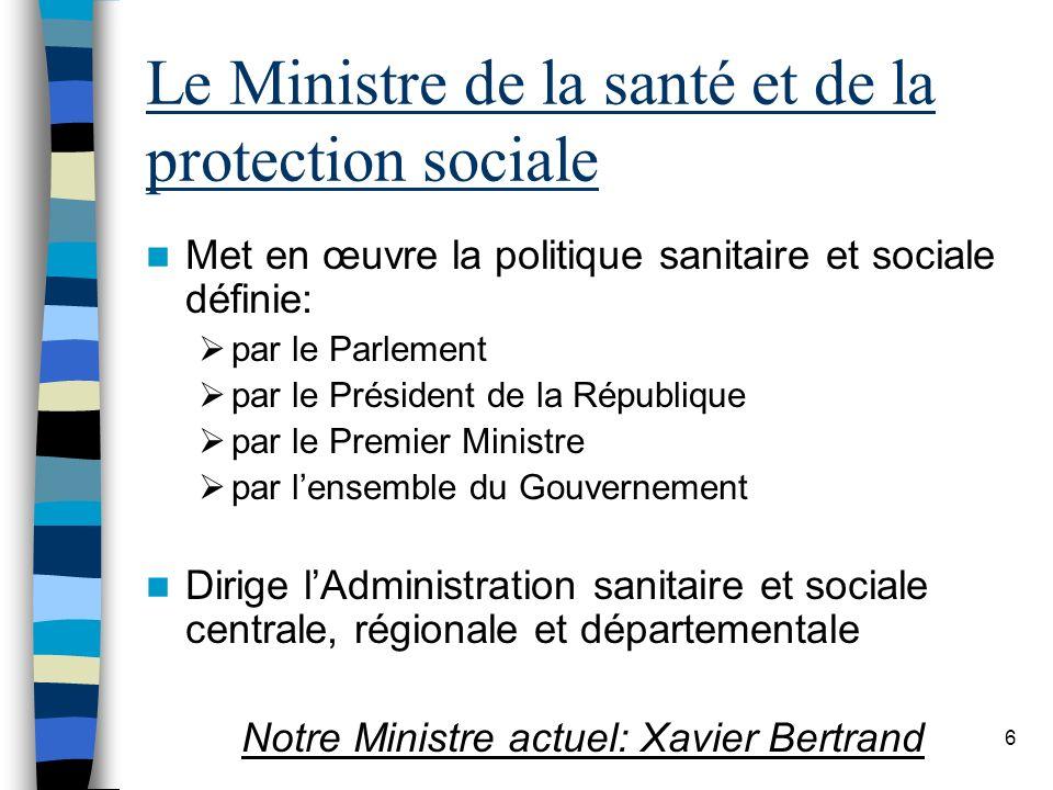 6 Le Ministre de la santé et de la protection sociale Met en œuvre la politique sanitaire et sociale définie: par le Parlement par le Président de la