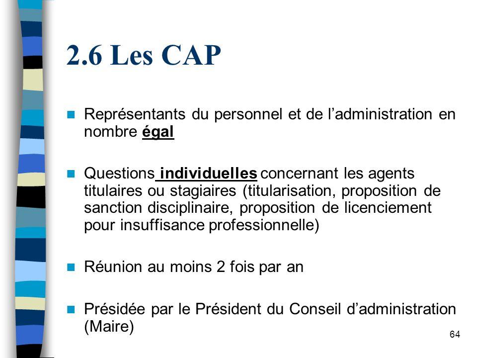 64 2.6 Les CAP Représentants du personnel et de ladministration en nombre égal Questions individuelles concernant les agents titulaires ou stagiaires