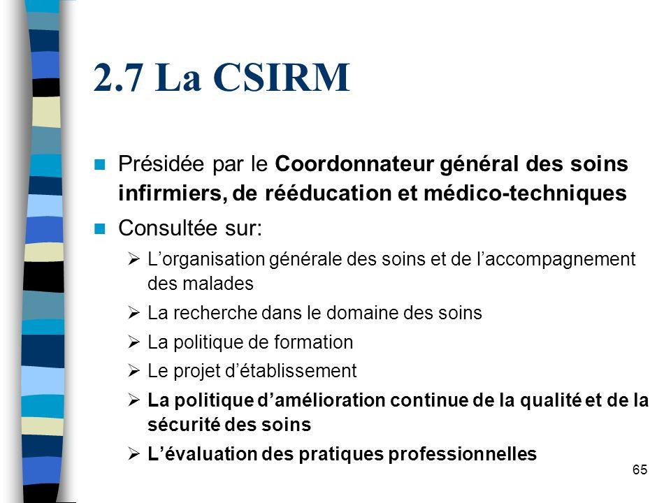 65 2.7 La CSIRM Présidée par le Coordonnateur général des soins infirmiers, de rééducation et médico-techniques Consultée sur: Lorganisation générale