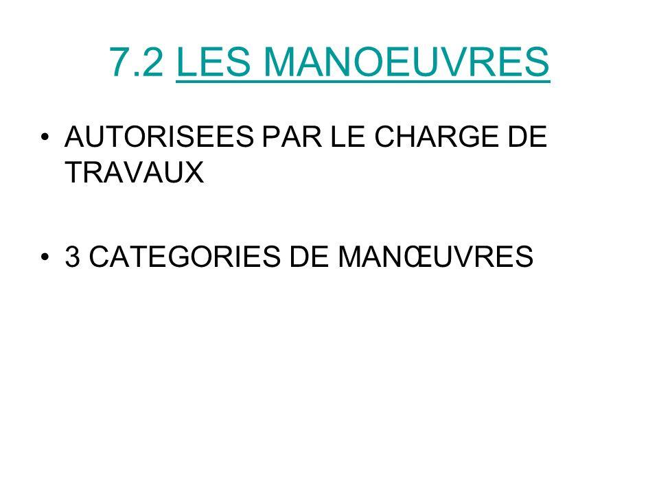 7.2 LES MANOEUVRES AUTORISEES PAR LE CHARGE DE TRAVAUX 3 CATEGORIES DE MANŒUVRES