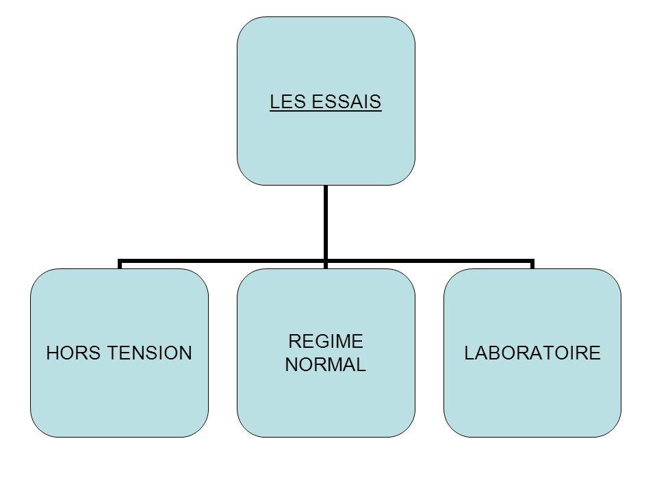 LES ESSAIS HORS TENSION REGIME NORMAL LABORATOIRE