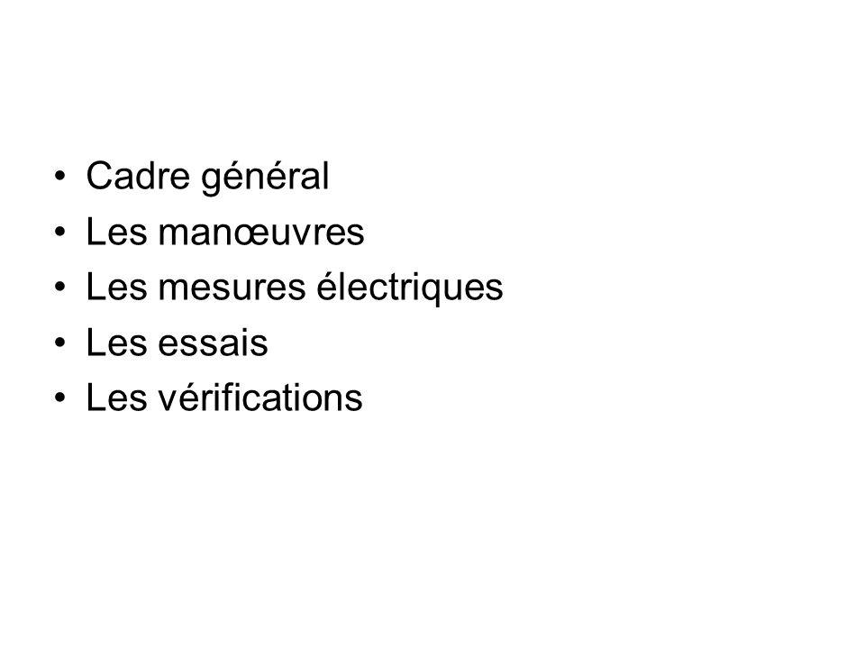 Cadre général Les manœuvres Les mesures électriques Les essais Les vérifications
