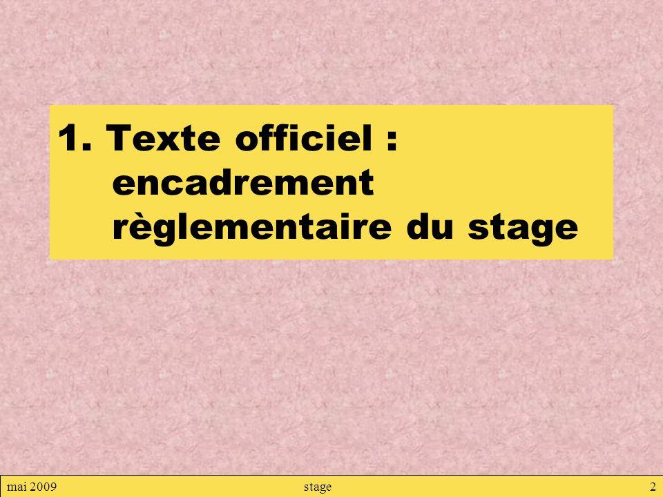 mai 2009stage2 1. Texte officiel : encadrement règlementaire du stage