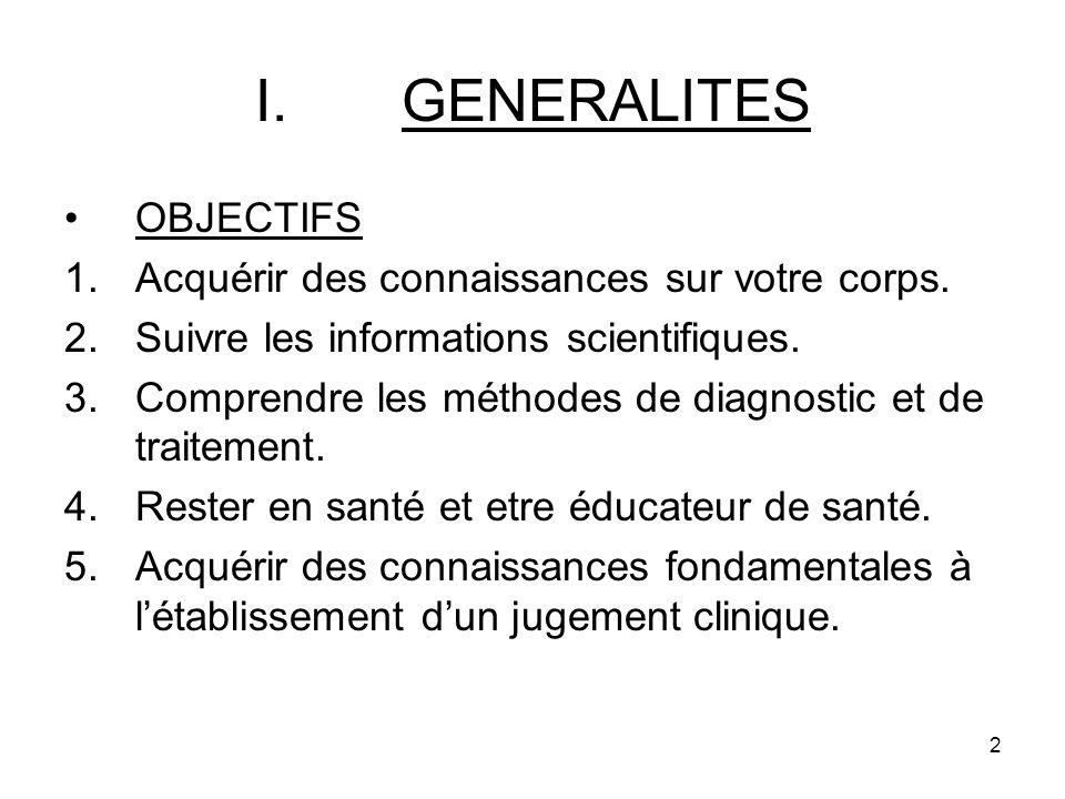 2 I.GENERALITES OBJECTIFS 1.Acquérir des connaissances sur votre corps.