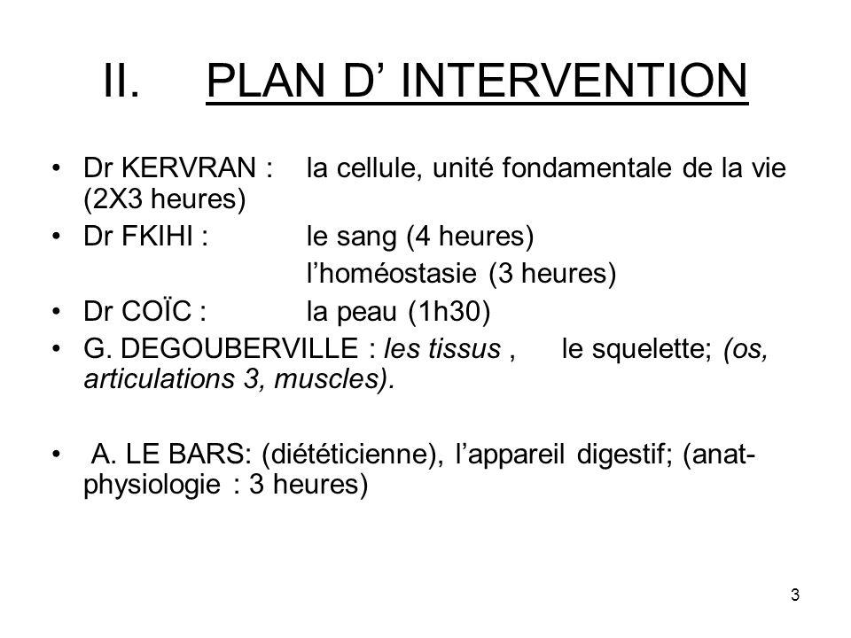 3 II.PLAN D INTERVENTION Dr KERVRAN : la cellule, unité fondamentale de la vie (2X3 heures) Dr FKIHI : le sang (4 heures) lhoméostasie (3 heures) Dr COÏC : la peau (1h30) G.