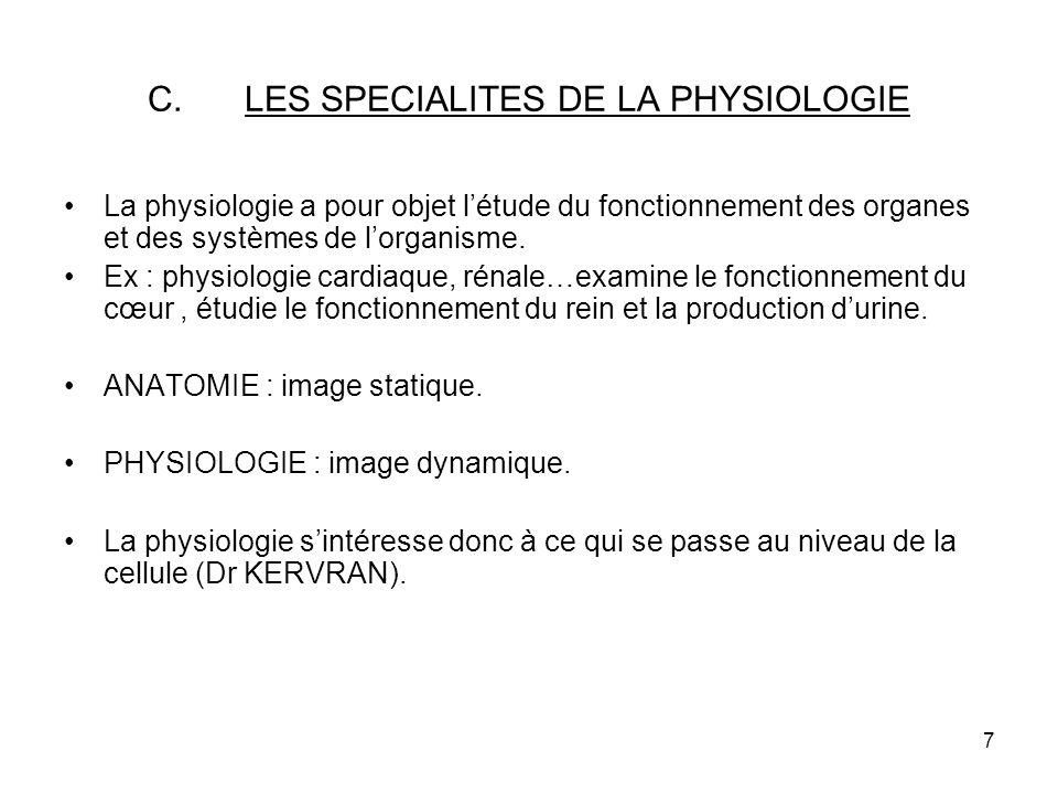 7 C.LES SPECIALITES DE LA PHYSIOLOGIE La physiologie a pour objet létude du fonctionnement des organes et des systèmes de lorganisme.