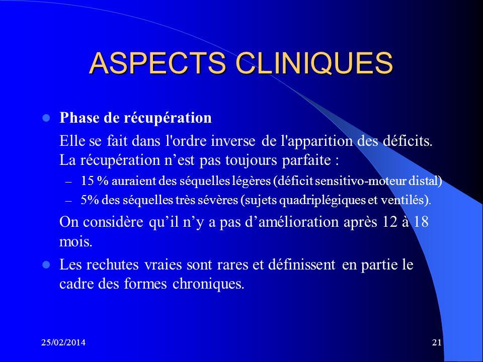 ASPECTS CLINIQUES Phase d'extension des paralysies – Elle dure par définition moins de 4 semaines – Elle réalise une parésie plus ou moins symétrique,