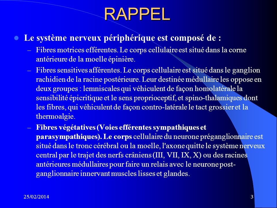 25/02/20142 DEFINITION Latteinte du système nerveux périphérique est défini par l'ensemble des manifestations cliniques, électriques, biologiques et h