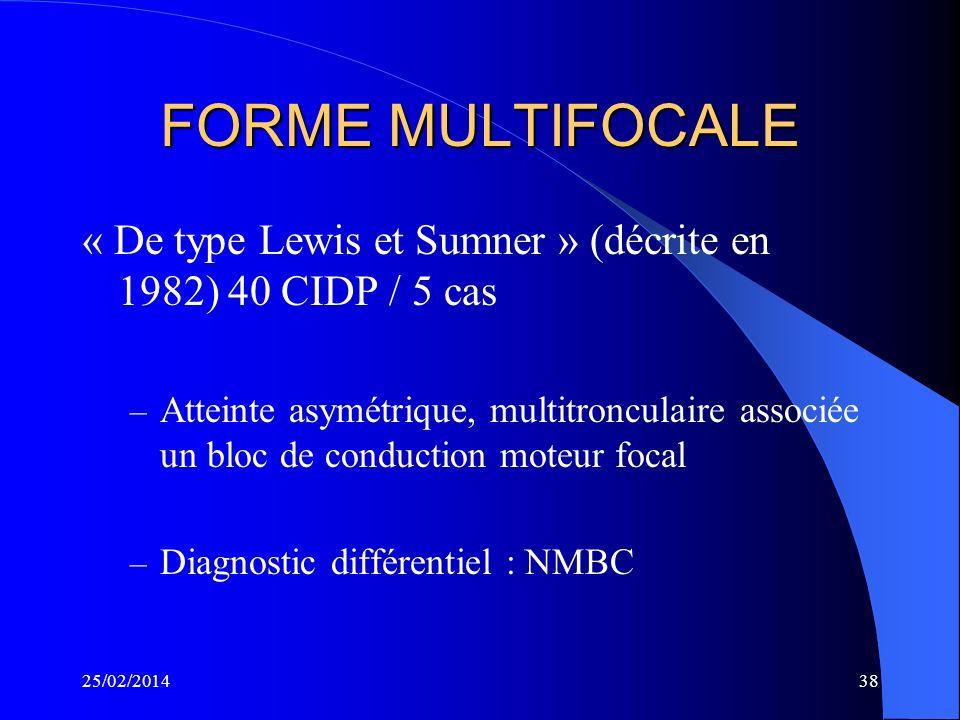 25/02/201437 FORMES PARTICULIERES FORMES CHEZ LENFANT FORMES AVEC HYPERTROPHIE NERVEUSE FORMES DATTEINTE DES NERFS CRANIENS FORMES EVOLUTIVES (30 à 40
