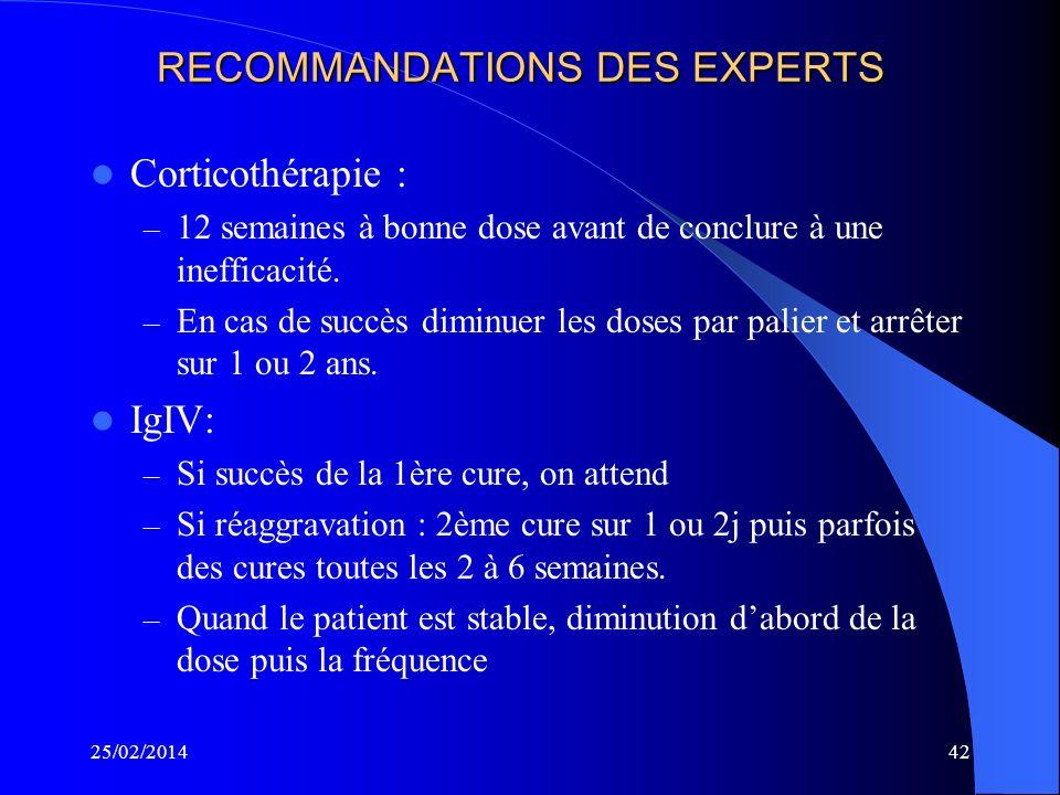 25/02/201441 TRAITEMENT 3 traitements – Corticothérapie 1mg/kg/j ou 100 à 120mg 1j sur 2 – IgIV 0,4mg/kg/j pendant 5j répétés toutes les 3 semaines –