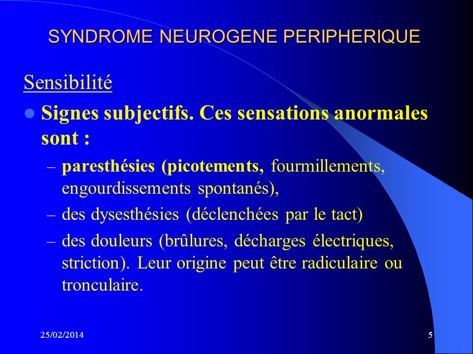 25/02/201435 BIOPSIE NERVEUSE En 1975, Dyck a décrit les lésions : – Démyélinisation segmentaire – Prolifération schwannienne en bulbes doignons – Œdème endoneural et dinfiltrats périvasculaires – Dégénérescence axonale Actuellement – La BNM nest plus utilisée pour le diagnostic positif.