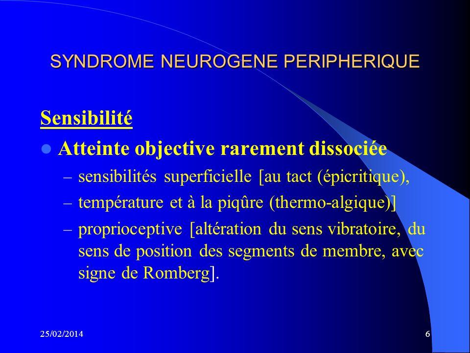 5 SYNDROME NEUROGENE PERIPHERIQUE Sensibilité Signes subjectifs. Ces sensations anormales sont : – paresthésies (picotements, fourmillements, engourdi