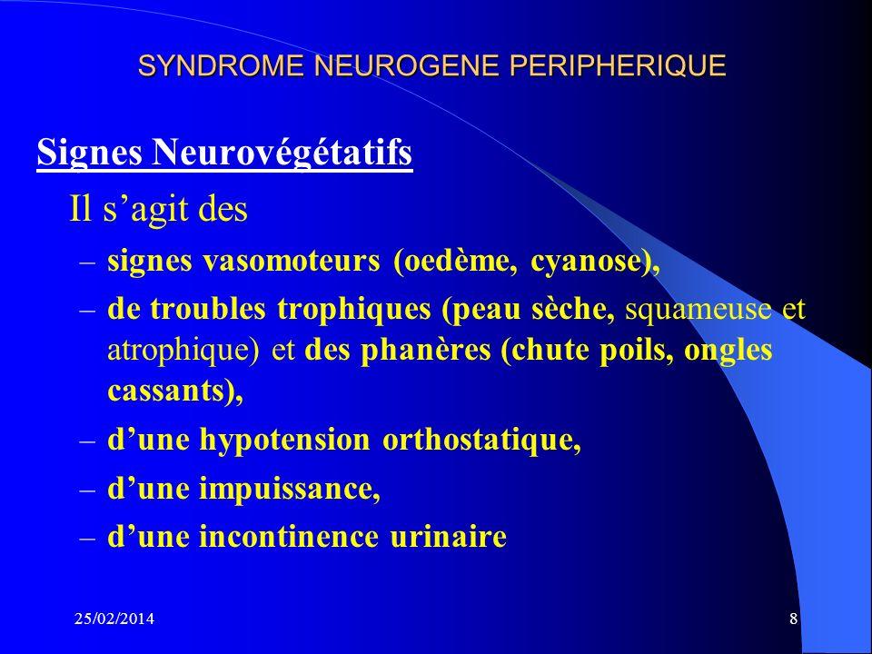 SYNDROME NEUROGENE PERIPHERIQUE Motricité Une Paralysie ou parésie, par atteinte de la motricité volontaire, réflexe et automatique par souffrance de