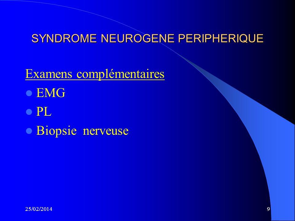 SYNDROME NEUROGENE PERIPHERIQUE Examens complémentaires EMG PL Biopsie nerveuse 25/02/20149