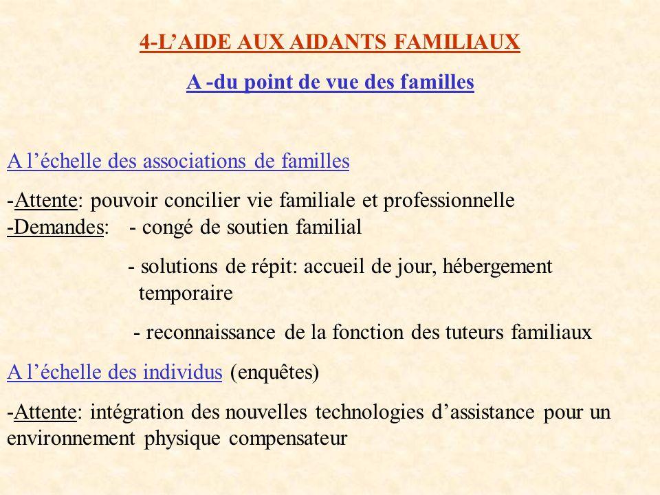 4-LAIDE AUX AIDANTS FAMILIAUX A -du point de vue des familles A léchelle des associations de familles -Attente: pouvoir concilier vie familiale et pro
