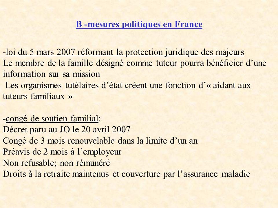 B -mesures politiques en France -loi du 5 mars 2007 réformant la protection juridique des majeurs Le membre de la famille désigné comme tuteur pourra