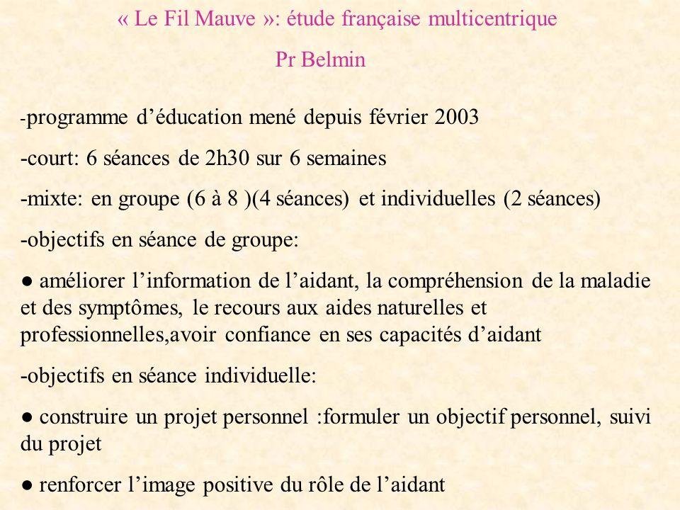 « Le Fil Mauve »: étude française multicentrique Pr Belmin - programme déducation mené depuis février 2003 -court: 6 séances de 2h30 sur 6 semaines -m