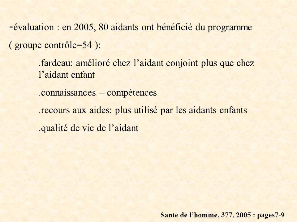 - évaluation : en 2005, 80 aidants ont bénéficié du programme ( groupe contrôle=54 ):.fardeau: amélioré chez laidant conjoint plus que chez laidant en