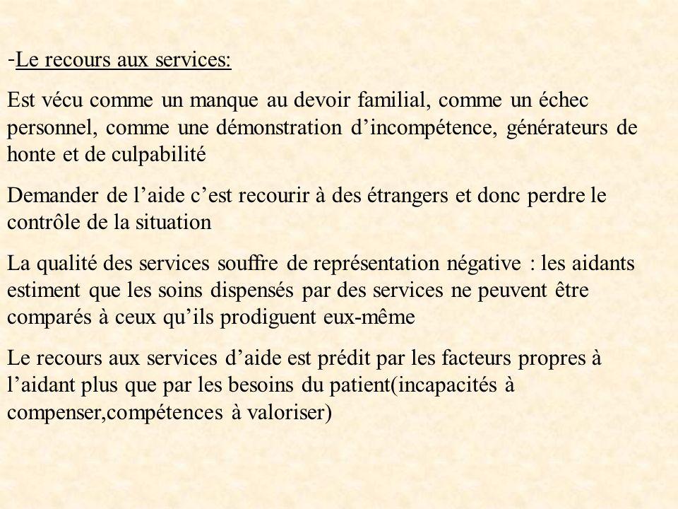 - Le recours aux services: Est vécu comme un manque au devoir familial, comme un échec personnel, comme une démonstration dincompétence, générateurs d