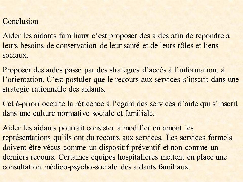 Conclusion Aider les aidants familiaux cest proposer des aides afin de répondre à leurs besoins de conservation de leur santé et de leurs rôles et lie