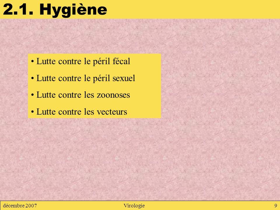 décembre 2007Virologie9 2.1. Hygiène Lutte contre le péril fécal Lutte contre le péril sexuel Lutte contre les zoonoses Lutte contre les vecteurs