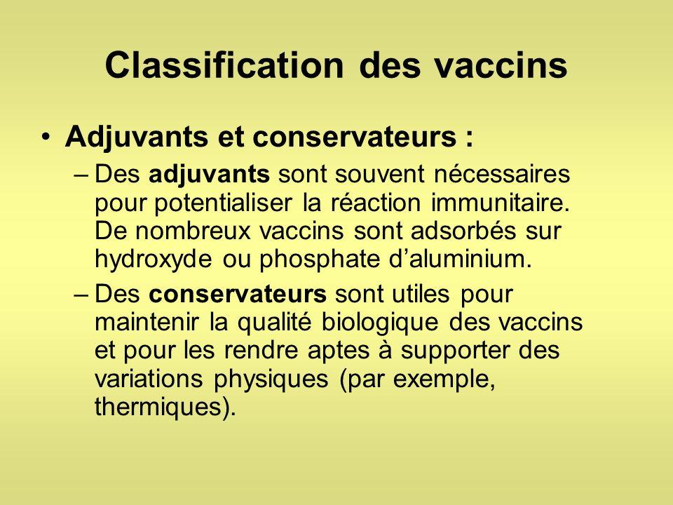 Classification des vaccins Adjuvants et conservateurs : –Des adjuvants sont souvent nécessaires pour potentialiser la réaction immunitaire. De nombreu