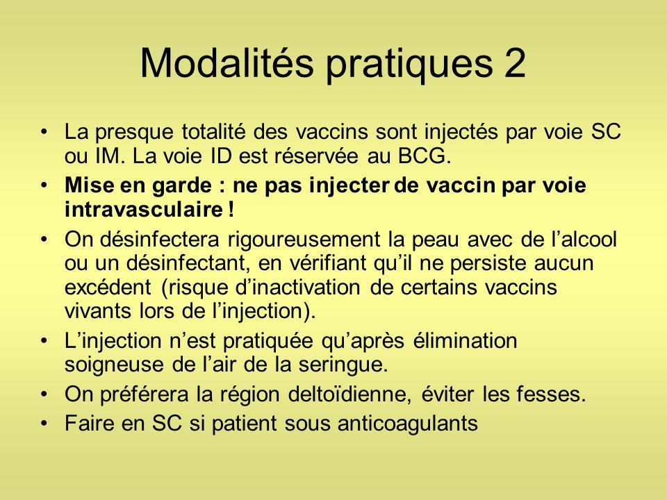 Modalités pratiques 2 La presque totalité des vaccins sont injectés par voie SC ou IM. La voie ID est réservée au BCG. Mise en garde : ne pas injecter