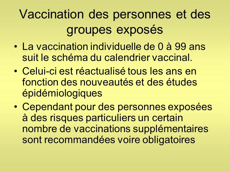 Vaccination des personnes et des groupes exposés La vaccination individuelle de 0 à 99 ans suit le schéma du calendrier vaccinal. Celui-ci est réactua