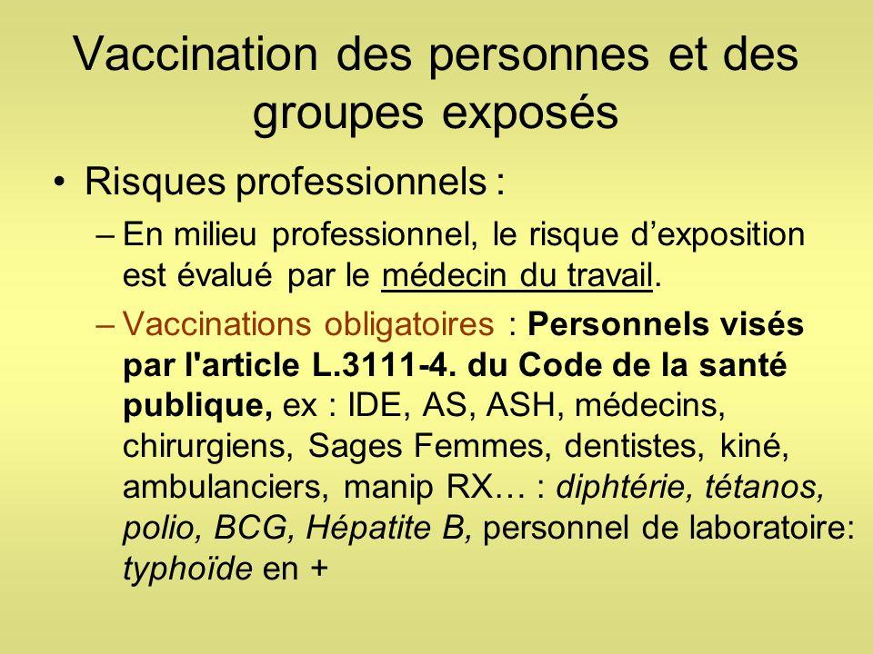 Vaccination des personnes et des groupes exposés Risques professionnels : –En milieu professionnel, le risque dexposition est évalué par le médecin du