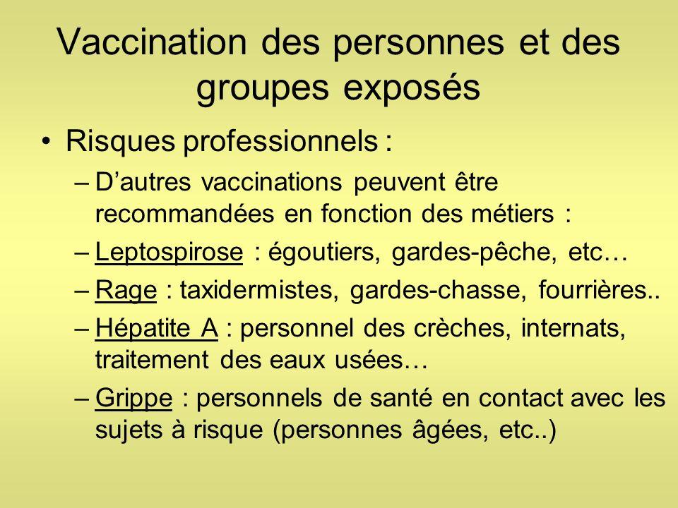 Vaccination des personnes et des groupes exposés Risques professionnels : –Dautres vaccinations peuvent être recommandées en fonction des métiers : –L