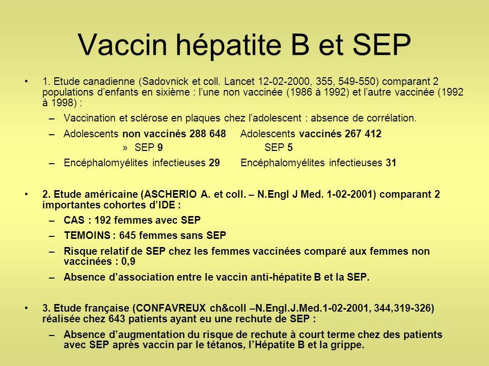 Vaccin hépatite B et SEP 1. Etude canadienne (Sadovnick et coll. Lancet 12-02-2000, 355, 549-550) comparant 2 populations denfants en sixième : lune n