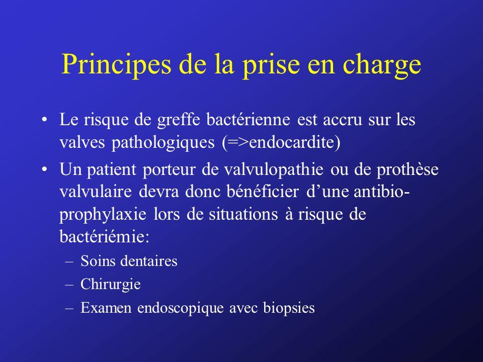Principes de la prise en charge Le risque de greffe bactérienne est accru sur les valves pathologiques (=>endocardite) Un patient porteur de valvulopa