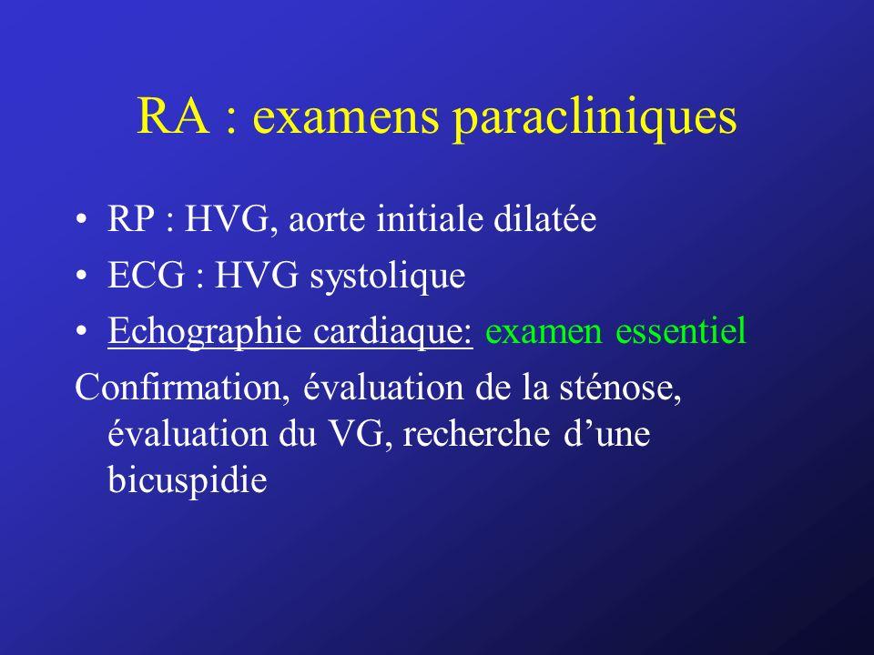 RA : examens paracliniques RP : HVG, aorte initiale dilatée ECG : HVG systolique Echographie cardiaque: examen essentiel Confirmation, évaluation de l
