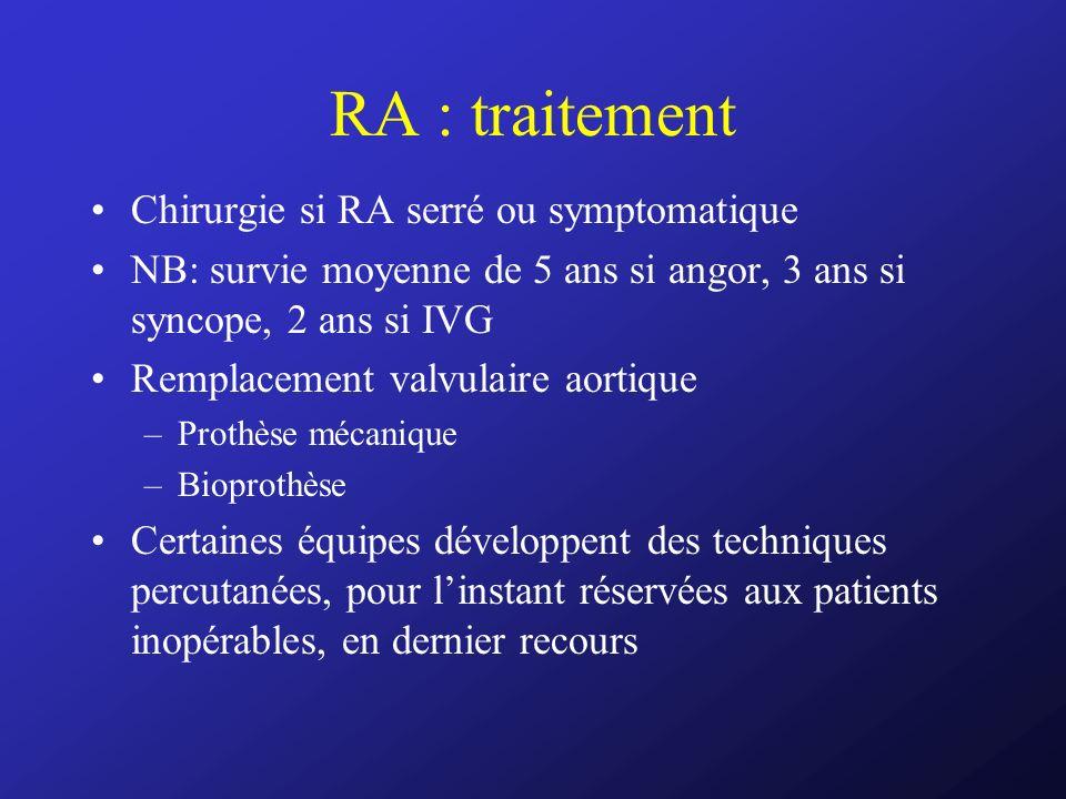RA : traitement Chirurgie si RA serré ou symptomatique NB: survie moyenne de 5 ans si angor, 3 ans si syncope, 2 ans si IVG Remplacement valvulaire ao