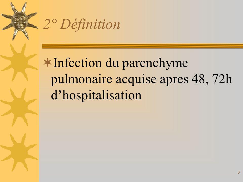 3 2° Définition Infection du parenchyme pulmonaire acquise apres 48, 72h dhospitalisation