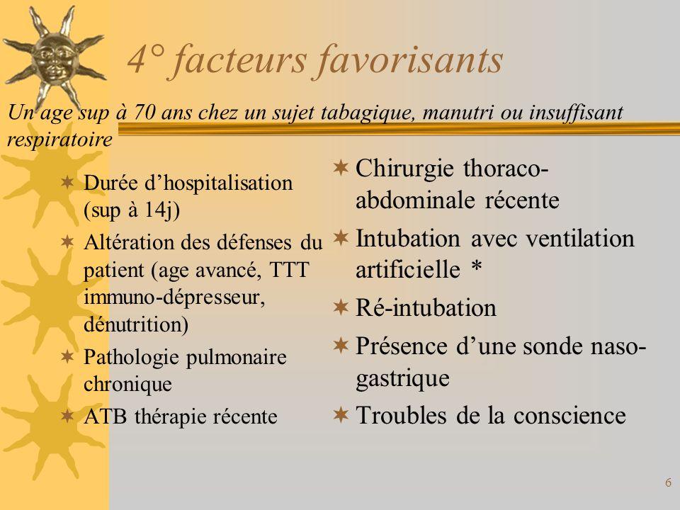 6 4° facteurs favorisants Durée dhospitalisation (sup à 14j) Altération des défenses du patient (age avancé, TTT immuno-dépresseur, dénutrition) Patho